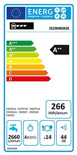 Neff G lavastoviglie/A + + / 14 vani / 44 DB / 9,5 litri / 266 KWH/anno. Completamente integrato -...
