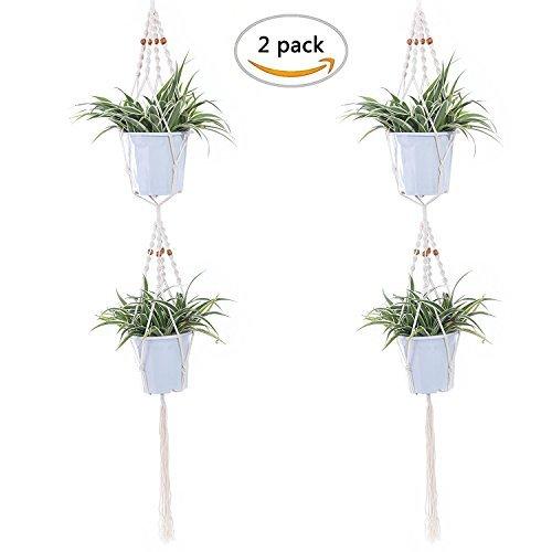 ezakka 57cm doble planta percha macramé flores Pot Holder Perchas de interior al aire libre Patio Deck Techo Planta Soporte 4patas con cuentas, 2unidades)