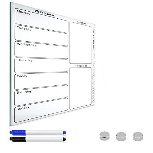 Navaris lavagna magnetica in vetro whiteboard - lavagna bianca 50x40cm con planner settimanale -...