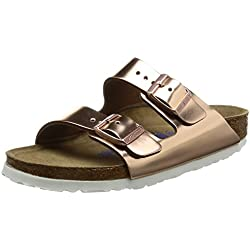 Birkenstock Classic Arizona Leder Softfootbed, Damen Pantoletten, Braun (Metallic Copper), 38 EU