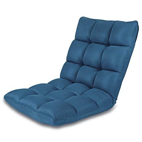 Bodenstuhl Verstellbarer NNEWVANTE 5 Winkel Gepolsterter Boden Spiel Sitzplätze Rückenlehne Liegefläche flach zusammenklappen zum Meditieren, Lesen, Videospielen, Für Erwachsene und Kinder-Schiffsblau