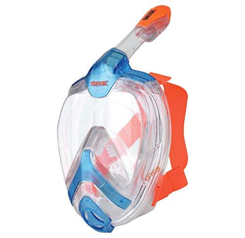 Seac Unica MD, Maschera Snorkeling Integrale a Pieno Volto Unisex Bambini, Blu/Arancione, S/M