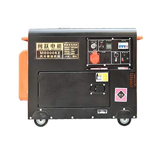 QWERTOUY Pantalla pequeña Mute Digital de generador Diesel 8000W Individual/trifásica de 220V / 380V, 50 Hz, 420cc, 16L, sobre 55-65db (A) 7M