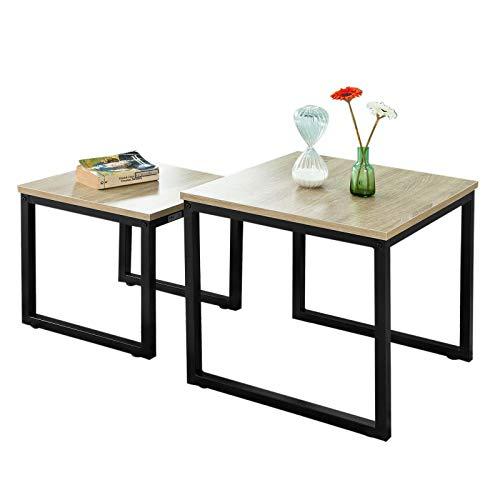 SoBuy 2PCS Tavolini Set,Tavolino da Divano, Impilabili, Tavolino d'appoggio,FBT42-N
