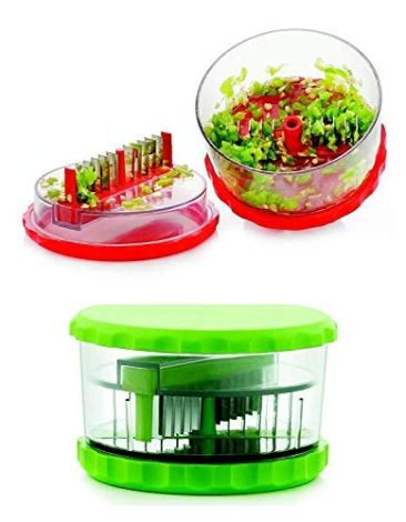 Sell ON New Arrival Garlic, Chilli and Dryfruits Multi Crusher Chopper Combo of Plastic Transparent Multi Vegetable Crusher/Grinder/Cutter and 2 in 1 Cutter/Knife/Chopper (Green/2 in 1 Cutter Combo) 8