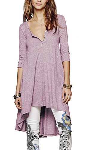 Urbancoco Damen kurz Ärmelige button down Asymmetrisch T-Shirt Sommer Tunika (XXL, lila)