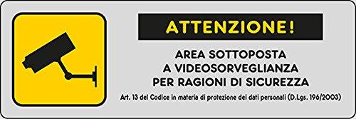 ADESIVO CM 15X5 'ATTENZIONE AREA SOTTOPOSTA A VIDEOSORVEGLIANZA PER RAGIONI DI SICUREZZA Art.13'