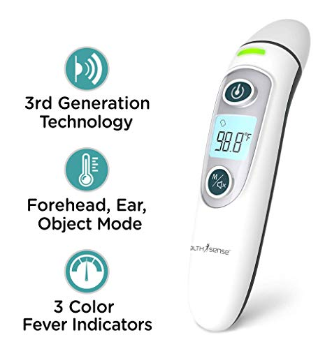 HealthSense Accu-Scan TH 600 Forehead & Ear Digital Infrared Thermometer for Babies & Adults with 1s fast reading, fever indicator with Object Temperature Mode