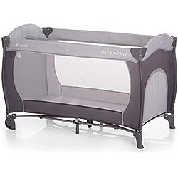 Hauck Sleep N Play Go Plus - Cuna de viaje 4 piezas, de nacimiento hasta 15 kg, con apertura lateral, ruedas, colchón, bolso de transporte, gris