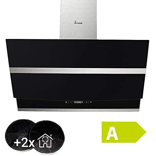 Cappa aspirante da cucina (90 cm, acciaio inox, vetro nero, extra silenzioso, 605m³/h, 4 passi,...