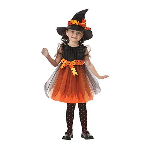 BaZhaHei Disfraz Halloween Niñas Vestidos y Sombrero Bruja Ropa Costume Vestirse Cosplay Bruja Traje de Rendimiento Equipo de Escenario Fiesta de Baile Moda Lindo 4-15 Años para Niña