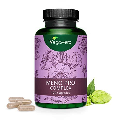 MENOPAUSA Vegavero® | Senza Soia | 120 capsule | con Salvia, Camomilla, Melissa, Semi di Lino, Enotera e Luppolo | Vegan