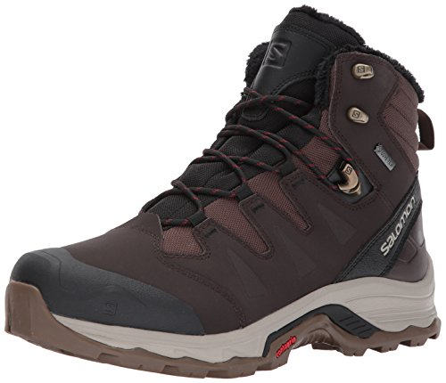 Salomon Herren Quest Winter GTX Trekking- & Wanderhalbschuhe, Schwarz Coffee/Black/Red Dalhia, 44 EU