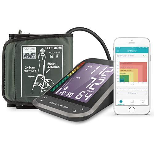 1byone Misuratore di Pressione da Braccio Digitale, Monitor Bluetooth per App Connessione con Largo...