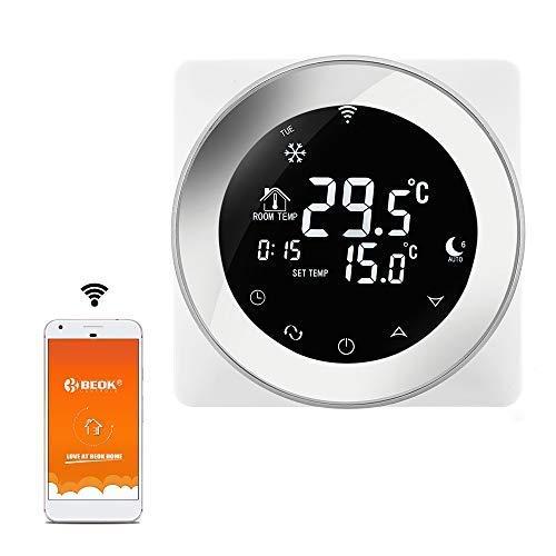 Beok TGR87WIFI-EP Thermostats d'ambiance Programmables, Fonctionne avec Google Home et Alexa, Programmeur Thermostat Contrôleur Température de Chauffage électrique Tactile WiFi Sonde de Plancher