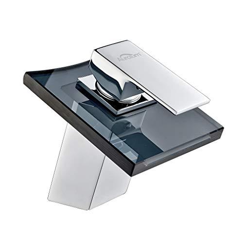 AuraLum Bad Armatur Wasserhahn Waschtischarmatur aus Glas, Grau Waschbecken Armatur mit Wasserfall Waschtisch Waschbecken, Einhebelmischer fürs Bad, Chrom