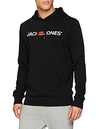 JACK & JONES Jjecorp Logo Sweat Hood Noos Capucha, Negro (Black Detail:reg Fit), Medium para Hombre