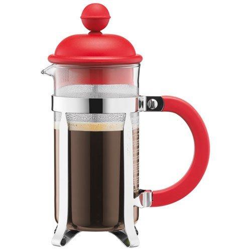 Bodum–Caffettiera–Caffettiera a pistone tazze, Vetro, Rosso, 0.35 L