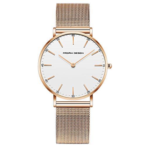 Pagani Design Uhr für Damen Edelstahl wasserdichte Uhr Damenuhr mit analogem Quarz PD-1801L-Goldenes Armband mit weißem Zifferblatt
