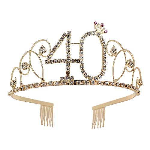 HITSAN INCORPORATION 2019 Fashion New Number 40 Headband Comb Pin Wedding Party Bridal Bling Rhinestone Tiara Crown Accessories Golden