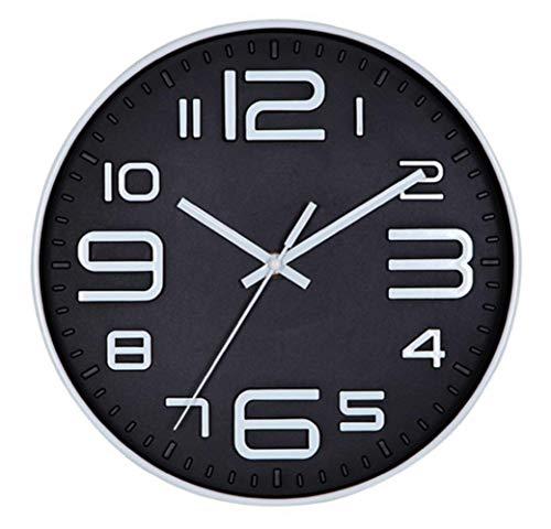 Tebery - Orologio da parete da 30 cm (senza tichettio), per soggiorno, cucina, ufficio, 25,4 cm, nero