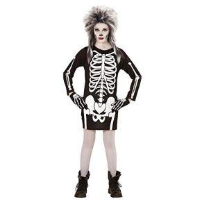 WIDMANN - Disfraz para niña con diseño esqueleto, talla 128 cm (366)