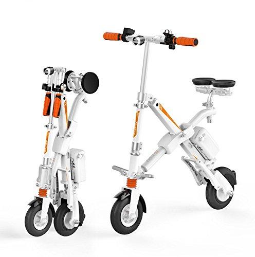 Run & Roll - Bicicletta elettrica Pieghevole, da Uomo, Colore: Bianco, 20,3 cm