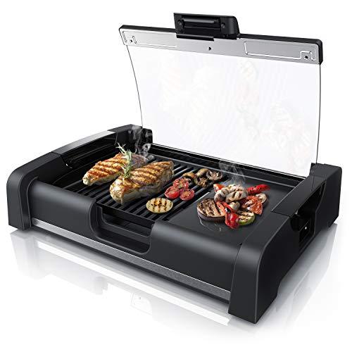 Arendo - Griglia da tavolo 45cm | 1650 W | con coperchio in vetro | Barbecue per interno e esterno |...