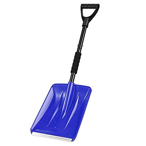 IPSXP Pala de Nieve, Avec pôle en Acier inoxydable et Pelle à Lame Large de 10,6 po, en Aluminium, Parfaite pour allée de Voiture, Camping et Urgence en Plein Air (Azul)