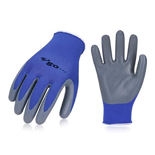 Vgo Glove Guanti, 10 paia, guanti da lavoro e giardinaggio in nitrile, guanti da giardino, edile,...