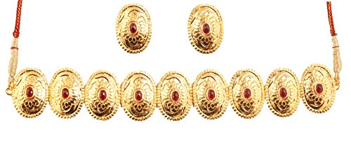 Touchstone Embossed and Beaten Metal Faux Ruby Designer Choker Necklace Set in Antique Gold Tone for Women