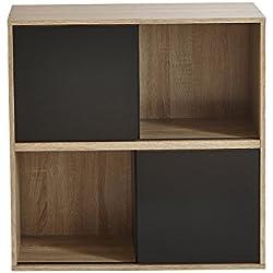 REGAL SLIDE Schiebetür kombinierbar Bücherregal Büroregal schwarz weiß Holz Set (512, sonoma-schwarz)