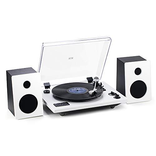 Shuman Platine Vinyle, Stylet Technica Audio, Bluetooth, USB, Contrôle Pitch, Boîte de Haut-Parleur, Puissance de Sortie 30 Watts, Finition Piano Blanc(MC-256A)