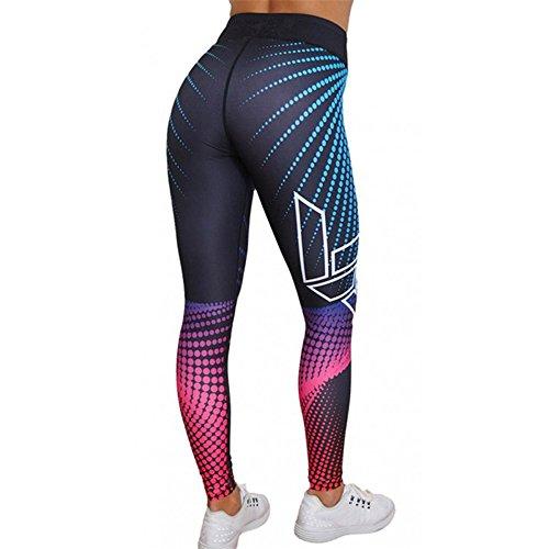 Weant Pantalones Yoga Mujeres Mallas Deportivas Mujer Punto de ola Mujer Deporte Pantalones Fitness Mujer Gym Yoga Pantalon EláSticos Para Running Pilates Fitness Impresión 3D (Multicolor, S)