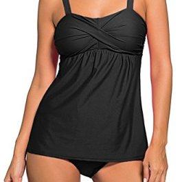 EmilyLe set costume bikini 2 pezzi tankini Top extrasize da donna con il breve vestito elastico di nuoto