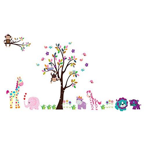 Pegatinas Decorativas Pared Infantil Árbol Grande Pájaros Ardillas y Erizo - Pegatina de Pared con Cosque para Niñas o el Cuarto del Bebé - Decoración de Pared