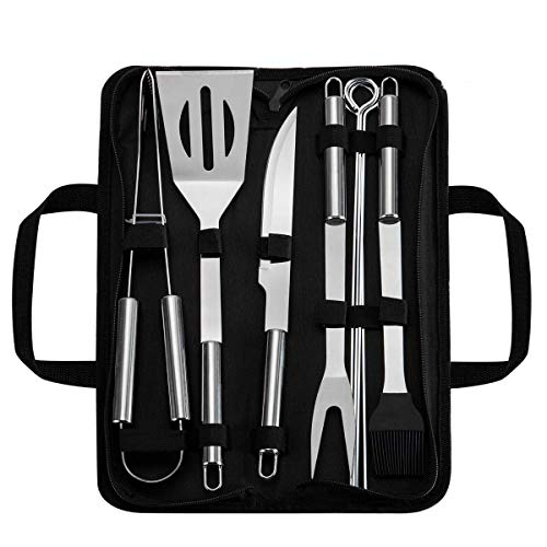Lukovee Barbecue Grill Tools Set, 9 Pieces Stainless Steel Barbecue Accessories with Storage Bag Men Women Outdoor Grill Kit for Family Grill Barbecue Utensils for Camping and Picnic
