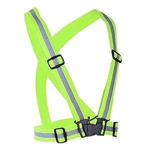 iEFiEL Chaleco Fluorescente Cinturón Correas de Seguridad Reflector Alta Visibilidad para Correr Jogging Ciclismo Bici Motociclismo Deportes al Aire Libre Verde Fluorescente talla única