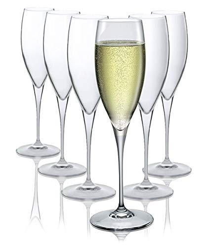 Bormioli Rocco Bicchieri Flûte Champagne - Lavabili in lavastoviglie - Set di 6 - 250 ml – Regalo...