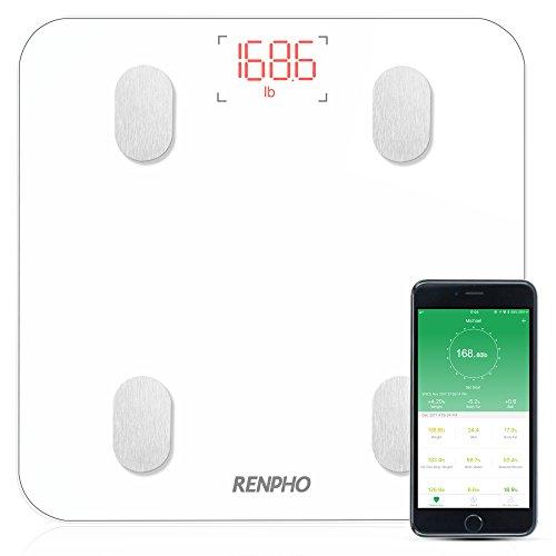 Pèse Personne Impédancemètre,RENPHO Balance Connecté,Pèse-Personne Bluetooth, Mesure du Poids,Graisse,Masse Musculaire et Osseuse,Eau,Ecran Rétroéclairé,Pour IOS et Android,Ecran Rétroéclairé