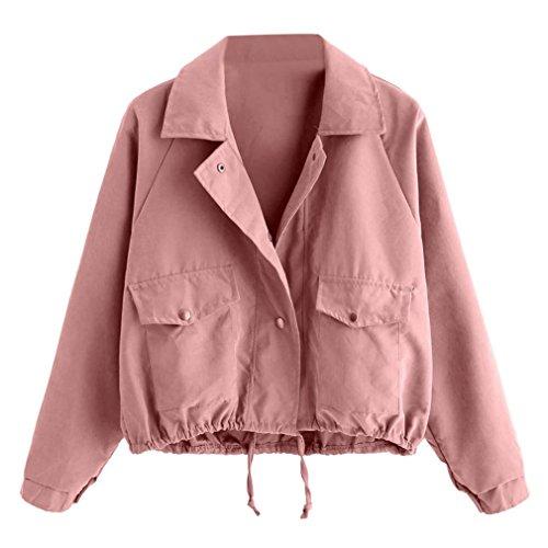c0e002b494e44a Damen Jacke,Honestyi Damen Herbst Winter Fashion Kurz Rosa Button ...