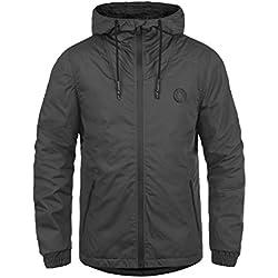 SOLID Tilden Sporty Herren Übergangsjacke Regen-Jacke mit Kapuze aus robuster und winddichter Baumwollmischung, Größe:M, Farbe:Dark Grey (2890)