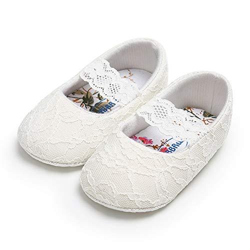 Lacofia Ballerine bambina Scarpe da battesimo neonata per principessa con suola morbida antiscivolo bianco 3-6 mesi