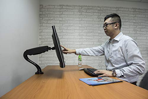 """Rife Gas Powered Monitor Arm Desk Mount Stand w/ vesa bracket , desk clamp & grommets for 17""""-27"""" Screens : Tilt up/down 180°, free swivel left/right 360°, 360° rotation, free monitor rotation: landscape or portrait , free height adjustment"""