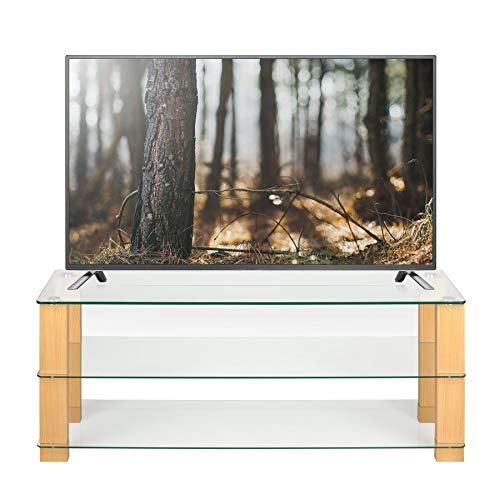 Mobile TV in rovere e vetro trasparente largo 125 cm per 32 42 50 55 60 pollici LCD LED Smart TV a...