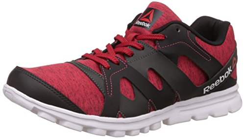Reebok Men's Electro Run Red Rush, Gravel and White Running Shoes - 8 UK/India (42 EU) (9 US)