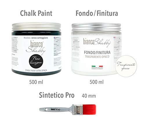 CHALK PAINT Nero Lavagna & FINITURA OPACA - Pittura Shabby Chic (500 ml) + Fondo Finitura...