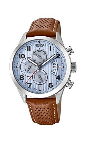Festina Herren Chronograph Quarz Uhr mit Leder Armband F20271/4