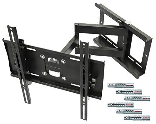 RICOO Wandhalterung TV Schwenkbar Neigbar R23F Fischer UX10 Dübel Universal LCD Wandhalter Fernseher Halterung Curved OLED QLED Flachbildfernseher 80cm/32-165cm/65 Zoll/VESA 400x400