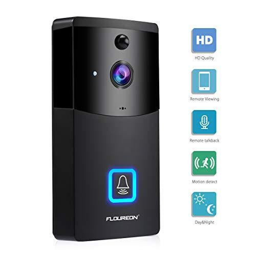 FLOUREON Campanello Video WIFI, Sicurezza Intelligence 720P Campanello con slot Micro SD, Talk e...